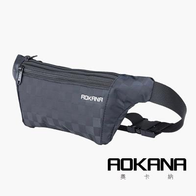AOKANA YKK拉鍊 台灣製造 五種格層高防潑水面料防盜腰包(黑格)03-017D1