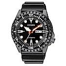 CITIZEN星辰 強悍俐落運動風夜光機械腕錶(NH8385-11E)- 黑/46mm