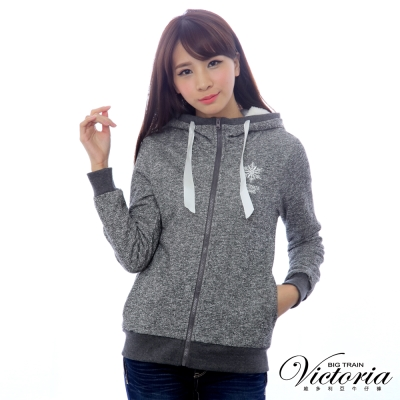Victoria 繡花連帽休閒外套-女-深灰