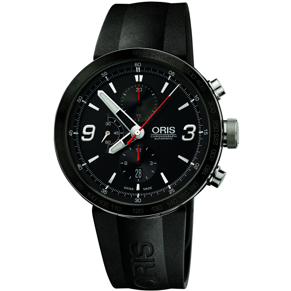 ORIS TT1 陶瓷上圈計時機械腕錶-黑/橡膠/45mm