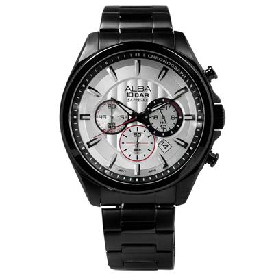 ALBA 菁英質感系三環計時腕錶(AT3829X1)-銀x鍍黑/45mm