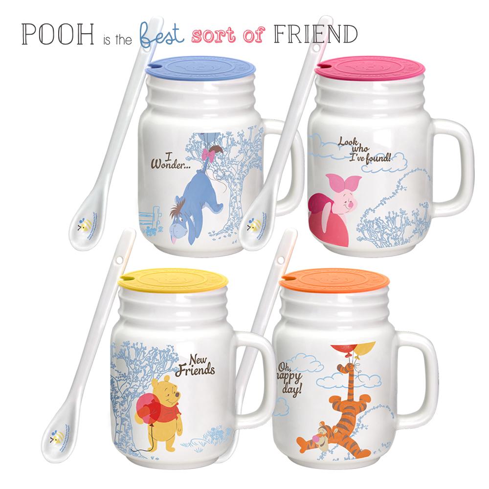迪士尼Disney 歡樂維尼式陶瓷杯組440ml(四入/組)