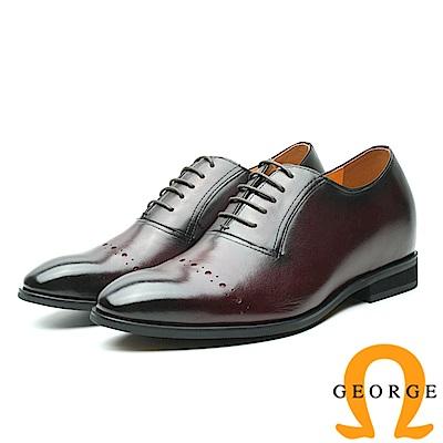 GEORGE 喬治-內增高系列 手工時尚尖頭皮鞋 男鞋-酒紅