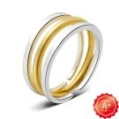 A+ 三戒極簡細環 純銀撘黃金雙色尾戒