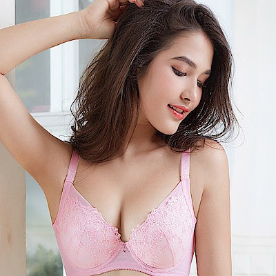 EASY SHOP-花園秘戀 大罩杯B-E罩成套內衣(花香粉)