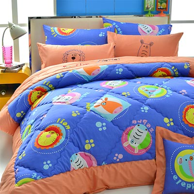 Goelia  動物星球-藍 精梳純棉立體壓花加大鋪棉兩用被套床包四件組