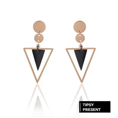 微醺禮物 正韓 鋼針 鋼飾 幾何圖形 圓圈 三角 排列垂墜耳環 針式