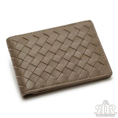2R-細呢鬆軟-羊皮編織名片信用卡夾-拿鐵淺咖