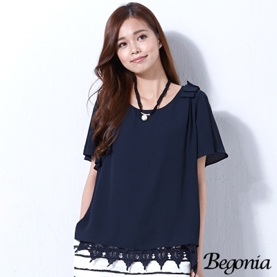 Begonia 荷葉袖肩飾布蕾絲雪紡上衣(共二色)