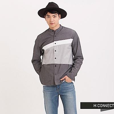 H:CONNECT 韓國品牌 男裝 - 亨利領拼接襯衫 - 黑