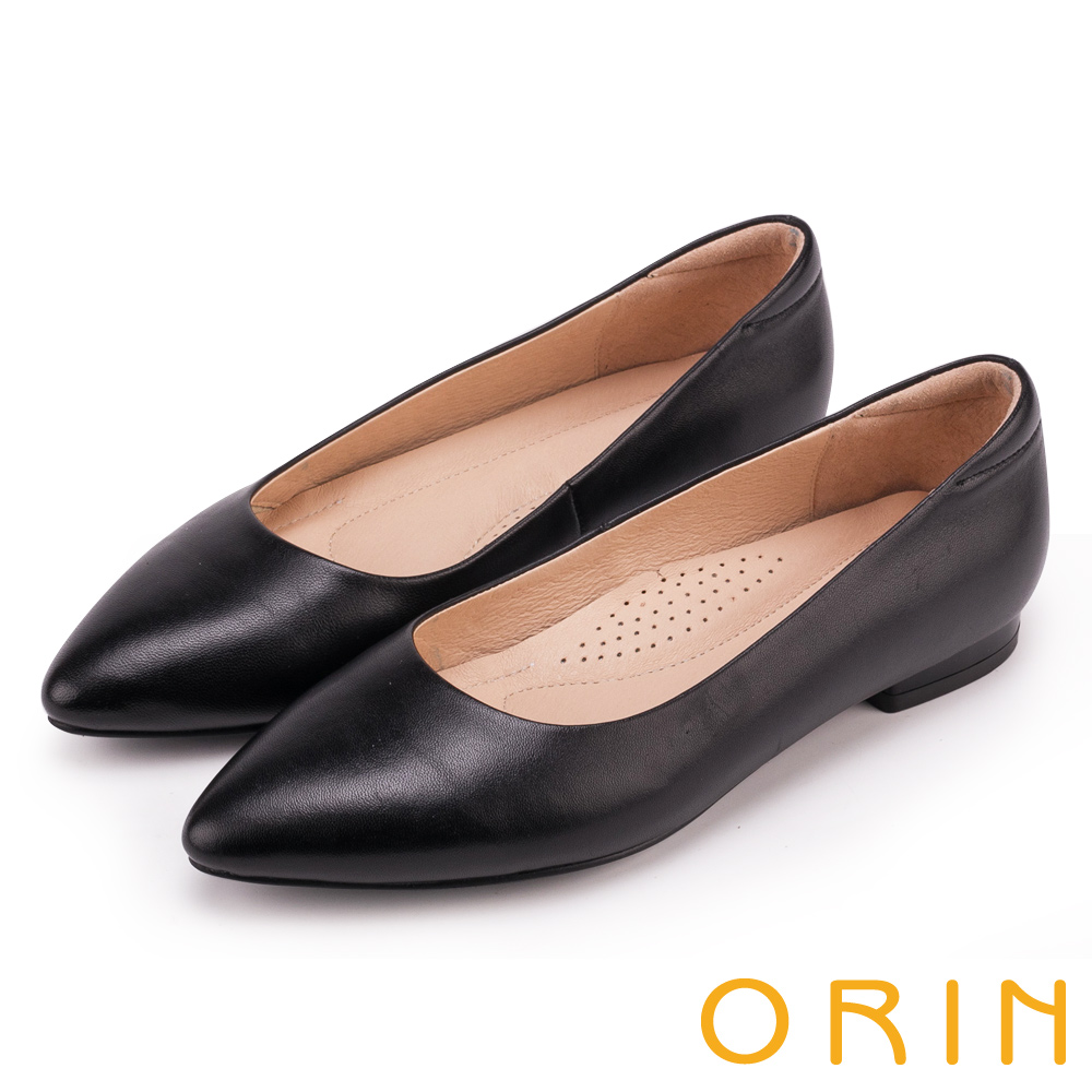 ORIN 簡約時尚OL 尖頭素面質感牛皮低跟鞋-黑色