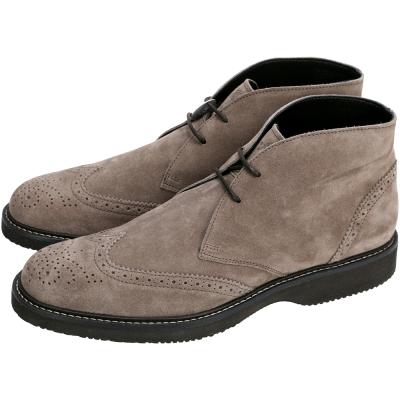 HOGAN 麂皮雕花綁帶短筒牛津鞋(灰褐色)