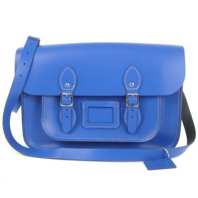 The Leather Satchel 英國手工牛皮劍橋包 肩背 側背包 牛津藍 14吋