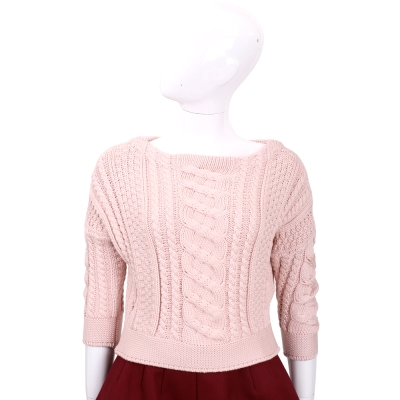Max Mara-WEEKEND 粉色麻花針織七分袖上衣