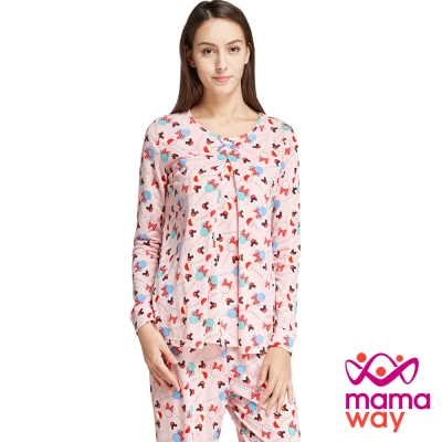 孕婦裝 哺乳衣 居家服 棒棒糖米妮孕哺居家服組 Mamaway