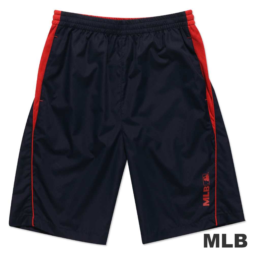 MLB-美國職棒大聯盟風衣布撞色運動短褲-深藍(男)