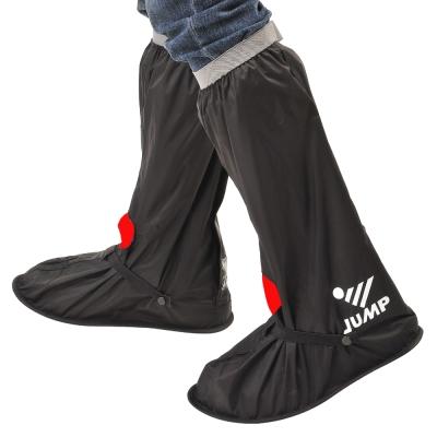 JUMP尼龍反光防水雨鞋套L001(黑紅)-快