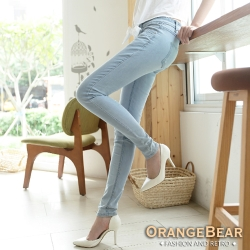 OrangeBear-破損立體小星星牛仔窄