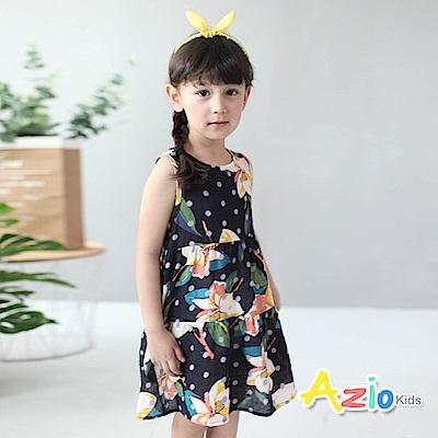Azio Kids 童裝-洋裝 鮮豔彩花後綁帶拉鍊背心洋裝(深藍)