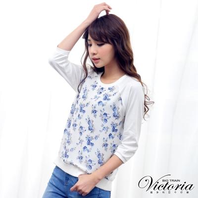 Victoria 花花雪紡拉克蘭七分袖T-女-白