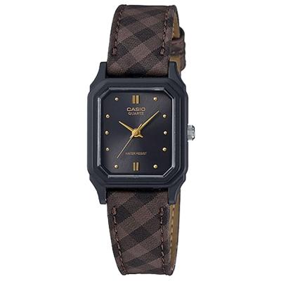 CASIO 復古格紋時尚風指針腕錶(LQ-142LB-1A)沉穩黑x咖/22.5mm