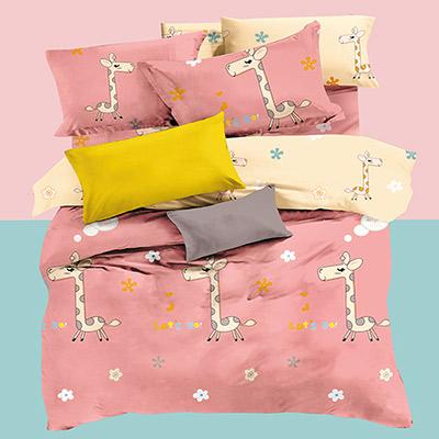 美夢元素 精梳純棉兩用被床包組-雙人(奔跑吧小鹿)