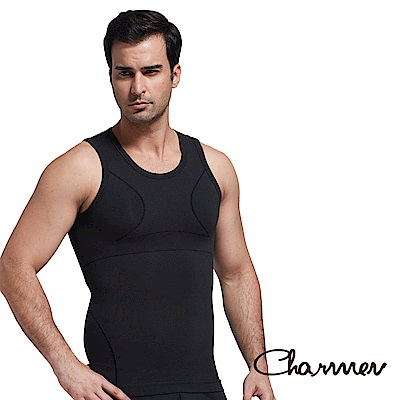 男性塑身衣 竹炭工型交叉挺背束胸背心 Charmen 黑色