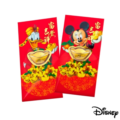 Disney迪士尼系列金飾-黃金元寶紅包袋-吉祥美妮+招財唐老鴨款