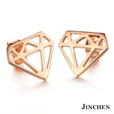 JINCHEN 白鋼鑽石耳環 玫瑰金