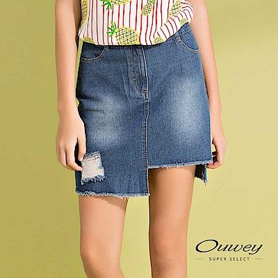 OUWEY歐薇 不規則剪接鬚邊純棉牛仔短裙(藍)