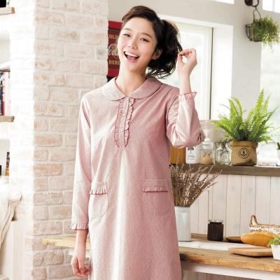 華歌爾睡衣 長袖圓領 M-L 連身裙裝(條紋紅)