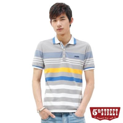 5th STREET POLO衫 多色條紋配色POLO衫-男-灰色