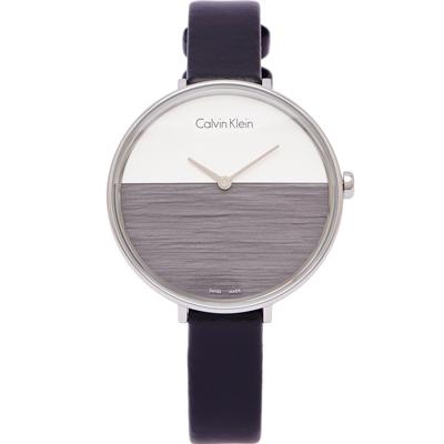 CK Calvin Klein清新木質感女性手錶K7A231C3-灰黑X銀面38mm