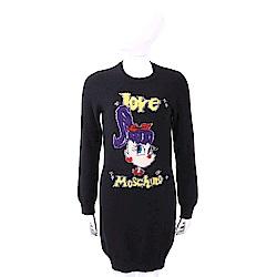 LOVE MOSCHINO 喀什米爾黑色馬尾卡通女孩長版羊毛衫