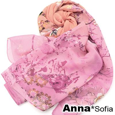 AnnaSofia-鳥語香榭-雪紡長絲巾-茵粉系