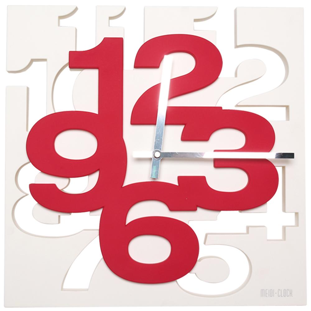 BUGU布咕 卡瑞立體數字配色時鐘/掛鐘/壁鐘-紅色
