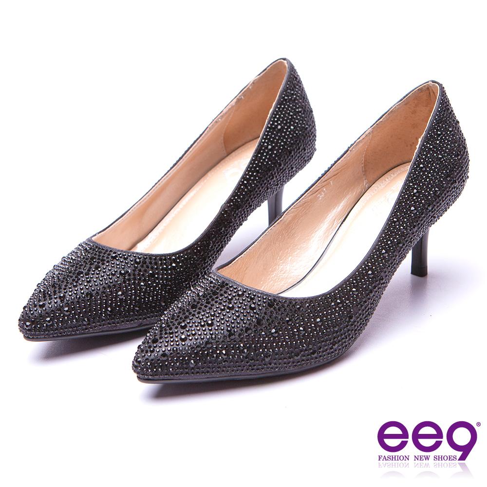 ee9 名媛專屬都會優雅簡約素面鑲嵌閃耀晶鑽跟鞋 黑色