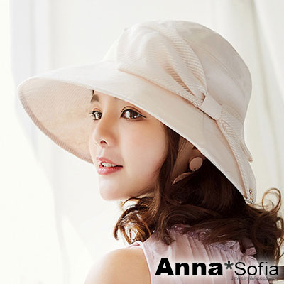 AnnaSofia 柔美透感斜絲紋結 遮陽防曬漁夫帽盆帽(柔米系)