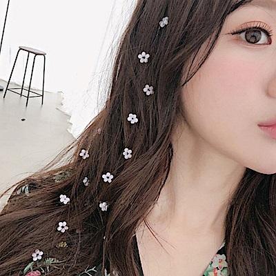 Hera 赫拉 小清新粉水晶花朵隱形髮片