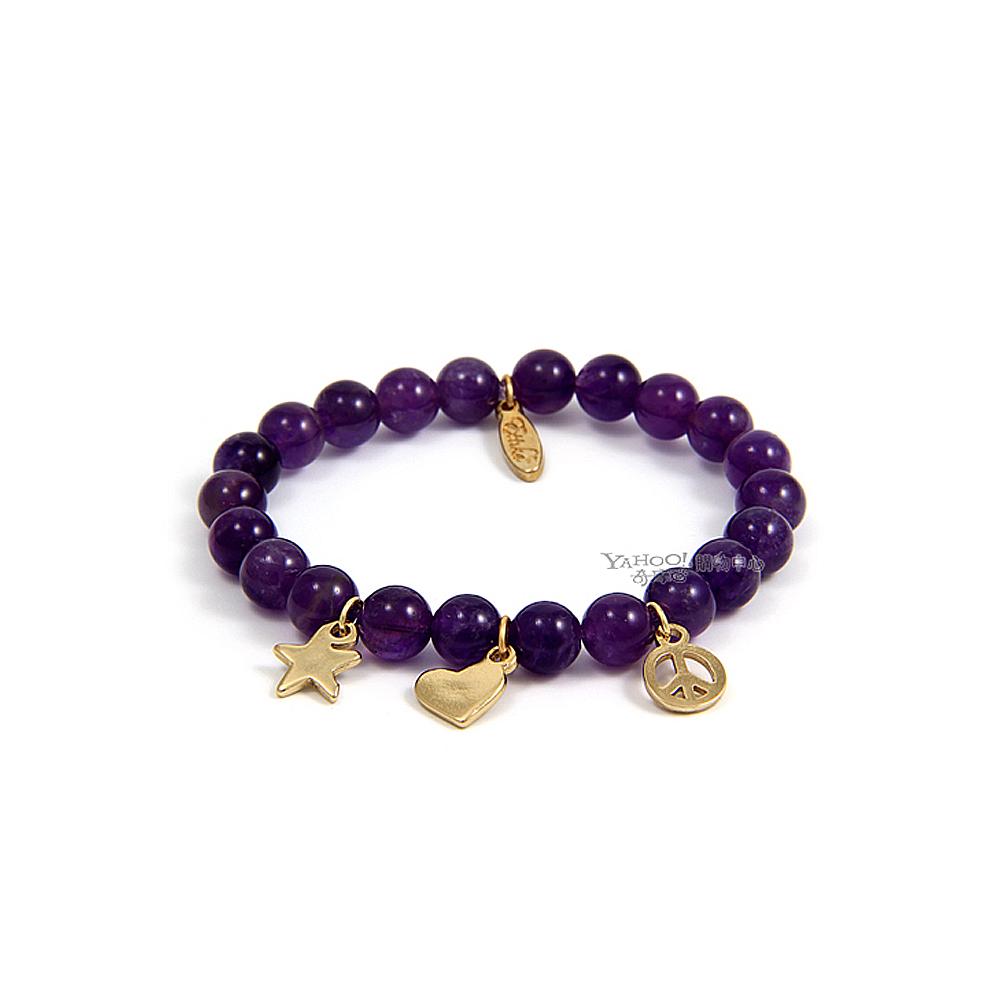 ETTIKA Lava Bead 金色和平愛心星星紫色玉石彈性手鍊