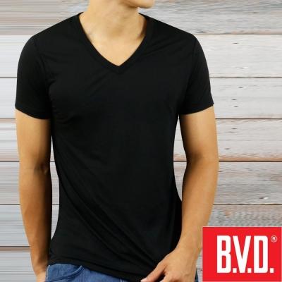 BVD 沁涼舒適酷涼 V領短袖衫(黑色2入組)-台灣製造