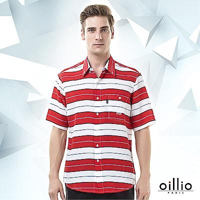 歐洲貴族oillio 短袖襯衫 魅力條紋 透氣舒適 紅色