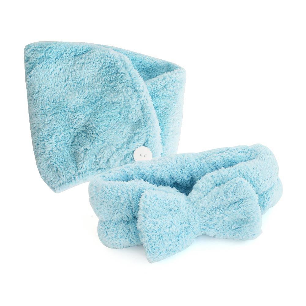 【組合優惠】LOVEL 7倍強效吸水抗菌超細纖維髮帶+浴帽