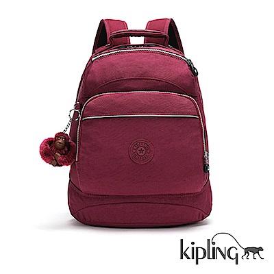 Kipling 後背包 莓紫素面-中