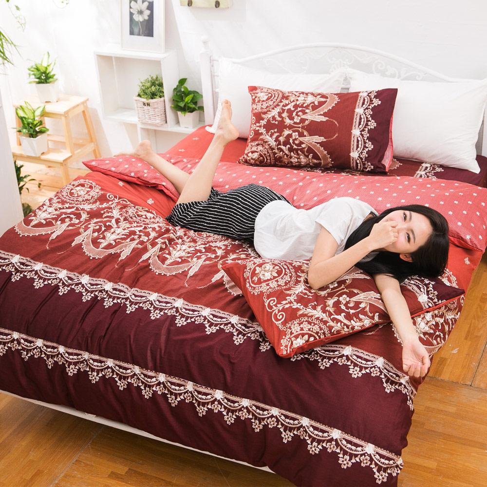 eyah宜雅 台灣製100%頂級精梳棉新式兩用被雙人床包被套五件組 法國洛可可的浪漫-暗紅