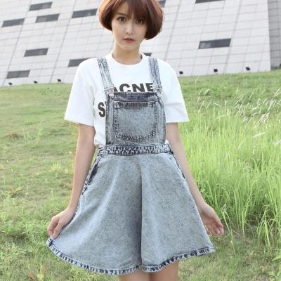 波浪擺吊帶牛仔短裙(灰色)-Kugi Girl