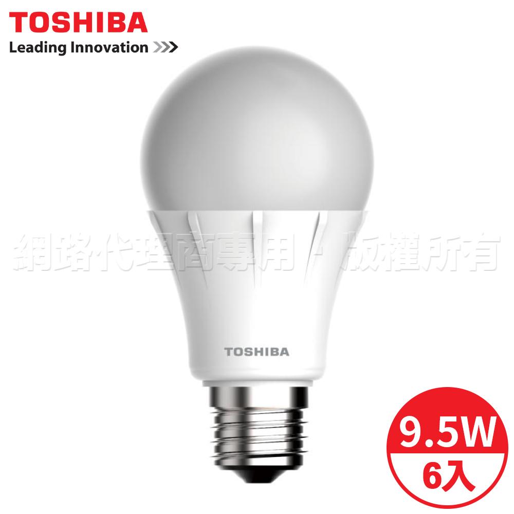 TOSHIBA東芝 9.5W全電壓LED球泡燈 白/黃光 6入