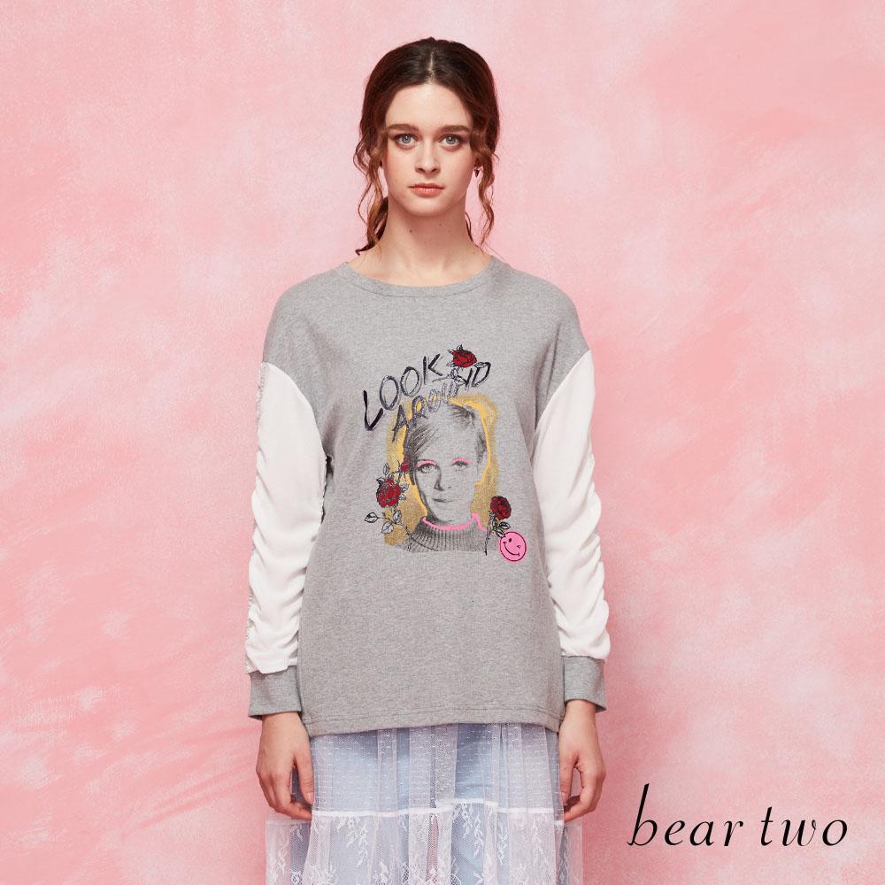 beartwo 拼接雪紡長袖T恤(二色)