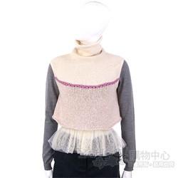 MALO 米黃/紫色拼接針織高領背心(100%CASHMERE)