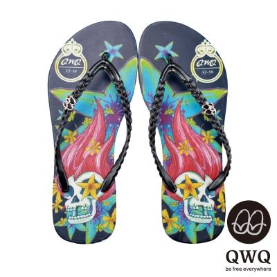 QWQ夾拖的創意(女) - Fancy skeleton側鑽鍊夾腳拖鞋-永生黑